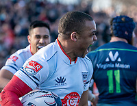 WASHINGTON, DC - FEBRUARY 16: Doug Fraser #14 of Old Glory DC after scoring a try during a game between Seattle Seawolves and Old Glory DC at Cardinal Stadium on February 16, 2020 in Washington, DC.