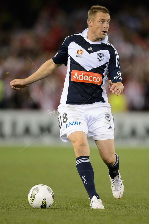 MELBOURNE, AUSTRALIA - MAY 19: Daniel Allsopp of the Victory controls the ball during a match between Melbourne Victory and Olympiakos FC at Etihad Stadium on 19 May 2012 in Melbourne, Australia. (Photo Sydney Low / AsteriskImages.com)