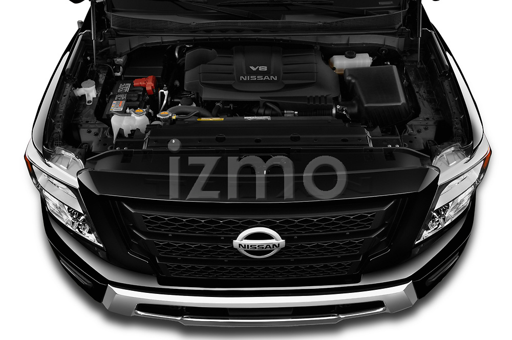 Car Stock 2020 Nissan Titan SV 4 Door Pick-up Engine  high angle detail view