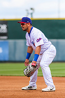 Iowa Cubs first baseman Phillip Evans (18) during a Pacific Coast League game against the San Antonio Missions on May 2, 2019 at Principal Park in Des Moines, Iowa. Iowa defeated San Antonio 8-6. (Brad Krause/Four Seam Images)