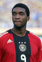 Germany's Richard Sukuta-Pasu (9) stands on the field before the match against Brazil during the FIFA Under 20 World Cup Quarter-final match at the Cairo International Stadium in Cairo, Egypt, on October 10, 2009. Germany lost 2-1 in overtime play.