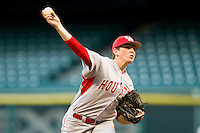 Relief pitcher Logan Piper #35 of the Houston Cougars delivers a pitch to the plate against the Texas Tech Red Raiders at Minute Maid Park on March 4, 2012 in Houston, Texas.  The Red Raiders defeated the Cougars 10-4.  Brian Westerholt / Four Seam Images
