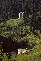 Europe/France/Auvergne/15/Cantal/Alleuze: Ruines du Chateau d'Alleuze XIIIème siècle dans la vallée de la Tuyère