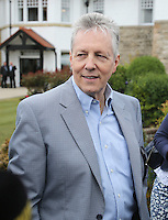 Saturday 30th May 2015; Making his first public appearance since his recent heart attack is Northern Ireland's First Minister Rt Hon Peter Robinson MLA.<br /> <br /> Dubai Duty Free Irish Open Golf Championship 2015, Round 3 County Down Golf Club, Co. Down. Picture credit: John Dickson / SPORTSFILE