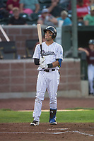 Idaho Falls Chukars right fielder Jose Caraballo (6) at bat during a Pioneer League game against the Great Falls Voyagers at Melaleuca Field on August 18, 2018 in Idaho Falls, Idaho. The Idaho Falls Chukars defeated the Great Falls Voyagers by a score of 6-5. (Zachary Lucy/Four Seam Images)