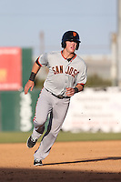 Christian Arroyo (2) of the San Jose Giants runs the bases during a game against the Lancaster JetHawks at The Hanger on April 11, 2015 in Lancaster, California. San Jose defeated Lancaster, 8-3. (Larry Goren/Four Seam Images)