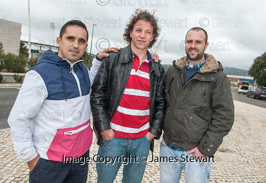 Former Celtic player Jorge Cadete, who lost his fortune earned as a footballer, with his university friends, Daniel Costa (left) and Rodolfo Micheal (right).