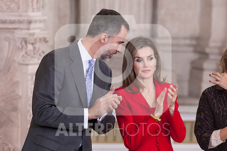 Spanish Royals King Felipe VI of Spain and Queen Letizia of Spain attend the 2014 Spanish Investigation Awards at Royal Palace in Madrid, Spain. January 15, 2015. (ALTERPHOTOS/Victor Blanco)