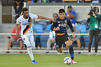 San Jose, CA - Monday July 10, 2017: Bradley Diallo, Nick Lima during a U.S. Open Cup quarterfinal match between the San Jose Earthquakes and the Los Angeles Galaxy at Avaya Stadium.