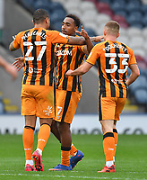 Hull City's Mallik Wilks is congratulated on scoring his team's 2nd goal<br /> <br /> Photographer Dave Howarth/CameraSport<br /> <br /> The EFL Sky Bet League One - Rochdale v Hull City - Saturday 17th October 2020 - Spotland Stadium - Rochdale<br /> <br /> World Copyright © 2020 CameraSport. All rights reserved. 43 Linden Ave. Countesthorpe. Leicester. England. LE8 5PG - Tel: +44 (0) 116 277 4147 - admin@camerasport.com - www.camerasport.com