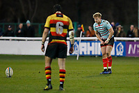 Mark Cooke of Blackheath Rugby lines up his kick during the English National League match between Richmond and Blackheath  at Richmond Athletic Ground, Richmond, United Kingdom on 4 January 2020. Photo by Carlton Myrie.