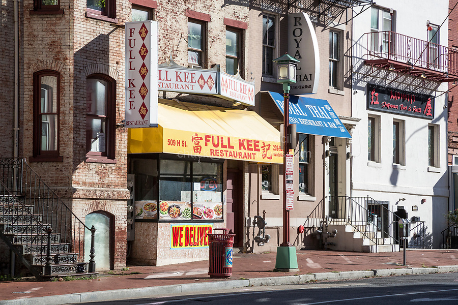 Ethnic Diversity on H Street NW, Chinatown Street Scene, Thai, Chinese, and Japanese Restaurants, Washington DC, USA