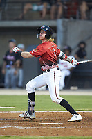 Tucker Neuhaus (5) of the Carolina Mudcats follows through on his swing during the 2018 Carolina League All-Star Classic at Five County Stadium on June 19, 2018 in Zebulon, North Carolina. The South All-Stars defeated the North All-Stars 7-6.  (Brian Westerholt/Four Seam Images)