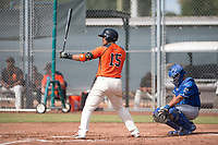 San Francisco Giants catcher Ricardo Genoves (15) at bat during an Instructional League game against the Kansas City Royals at the Giants Training Complex on October 17, 2017 in Scottsdale, Arizona. (Zachary Lucy/Four Seam Images)