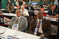 Miami Marlins Representatives Hall of Famer Tony Perez and Hall of Famer Andre Dawson during the MLB Draft on Thursday June 05,2014 at Studio 42 in Secaucus, NJ.   (Tomasso DeRosa/ Four Seam Images)