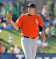 LHP Chris Gloor (46) of the Augusta GreenJackets, Class A affiliate of the San Francisco Giants, in a game against the Greenville Drive on May 23, 2010, at Fluor Field at the West End in Greenville, S.C. Photo by: Tom Priddy/Four Seam Images