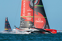 13th March 2021; Waitemata Harbour, Auckland, New Zealand;  Emirates Team New Zealand wins race six on day three of the America's Cup presented by Prada.