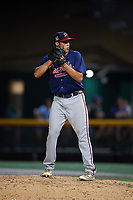 Danville Braves relief pitcher Zach Seipel (46) gets ready to deliver a pitch during a game against the Johnson City Cardinals on July 28, 2018 at TVA Credit Union Ballpark in Johnson City, Tennessee.  Danville defeated Johnson City 7-4.  (Mike Janes/Four Seam Images)