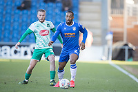 Ryan Jackson of Colchester United in action under pressure from George Cooper of Plymouth Argyle during Colchester United vs Plymouth Argyle, Sky Bet EFL League 2 Football at the JobServe Community Stadium on 8th February 2020