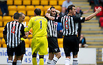 St Johnstone v Dunfermline... 13.08.11   SPL Week 4.John Potter is sent off after bringing down Fran Sandaza for a penalty.Picture by Graeme Hart..Copyright Perthshire Picture Agency.Tel: 01738 623350  Mobile: 07990 594431
