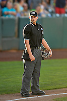 Home plate umpire Josh Sword during the game against the Ogden Raptors and the Missoula Osprey in Pioneer League action at Lindquist Field on July 13, 2016 in Ogden, Utah. Ogden defeated Missoula 8-2. (Stephen Smith/Four Seam Images)