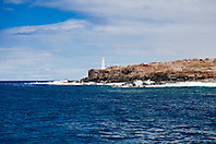 lighthouse at Palaoa Point aka Cape Kaea, near Kaunolu, South Lāna'i, Lāna'i aka Pineapple Island because of its past as an island-wide pineapple plantation of Dole, the sixth-largest island of the Hawaiian Islands, Hawaii, USA, Pacific Ocean