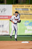 Tri-City ValleyCats second baseman Michael Wielansky (17) during a game against the Vermont Lake Monsters on June 16, 2018 at Joseph L. Bruno Stadium in Troy, New York.  Vermont defeated Tri-City 6-2.  (Mike Janes/Four Seam Images)