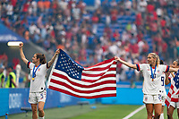 LYON, FRANCE - JULY 07: Kelley O'Hara and Allie Long during a game between Netherlands and USWNT at Stade de Lyon on July 07, 2019 in Lyon, France.