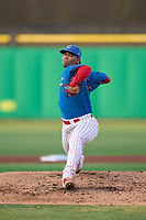 Clearwater Threshers pitcher Eduar Segovia (58) during a game against the Dunedin Blue Jays on May 18, 2021 at BayCare Ballpark in Clearwater, Florida.  (Mike Janes/Four Seam Images)