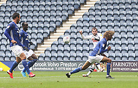 Preston North End's Tom Barkuizen tries a shot on goal<br /> <br /> Photographer Mick Walker/CameraSport<br /> <br /> The EFL Sky Bet Championship - Preston North End v Cardiff  City - Saturday 27th June 2020 - Deepdale Stadium - Preston<br /> <br /> World Copyright © 2020 CameraSport. All rights reserved. 43 Linden Ave. Countesthorpe. Leicester. England. LE8 5PG - Tel: +44 (0) 116 277 4147 - admin@camerasport.com - www.camerasport.com