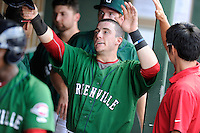 Catcher Jordan Procyshen (29) of the Greenville Drive is congratulated in the dugout after scoring a run in a game against the Savannah Sand Gnats on Sunday, August 24, 2014, at Fluor Field at the West End in Greenville, South Carolina. Greenville won, 8-5. (Tom Priddy/Four Seam Images)