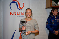 November 30, 2014, Almere, Tennis, Winter Youth Circuit, WJC,  Prizegiving, Margriet Timmermans, girls 14 years 2nd place.<br /> Photo: Henk Koster