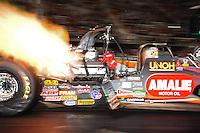 Jun. 15, 2012; Bristol, TN, USA: NHRA top fuel dragster driver Terry McMillen during qualifying for the Thunder Valley Nationals at Bristol Dragway. Mandatory Credit: Mark J. Rebilas-