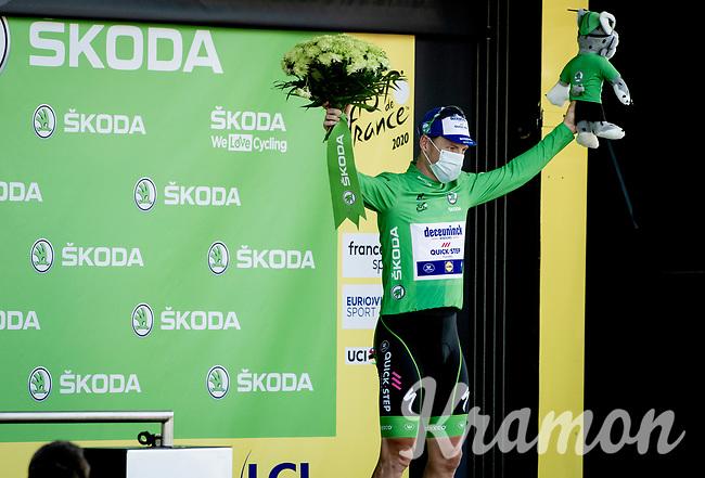 Green Jersey Sam Bennett (IRE/Deceuninck-Quick Step) on the podium<br /> <br /> <br /> Stage 19 from Bourg-en-Bresse to Champagnole (167km)<br /> <br /> 107th Tour de France 2020 (2.UWT)<br /> (the 'postponed edition' held in september)<br /> <br /> ©kramon