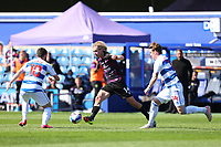 24th April 2021; The Kiyan Prince Foundation Stadium, London, England; English Football League Championship Football, Queen Park Rangers versus Norwich; Todd Cantwell of Norwich City takes on Stefan Johansen and Ilias Chair of Queens Park Rangers