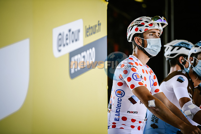 Polka Dot Jersey Benoit Cosnefroy (FRA) AG2R La Mondial at sign on before the start of Stage 10 of Tour de France 2020, running 168.5km from Ile d'Oléron to Ile de Ré, France. 8th September 2020.<br /> Picture: ASO/Pauline Ballet | Cyclefile<br /> All photos usage must carry mandatory copyright credit (© Cyclefile | ASO/Pauline Ballet)