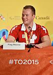 Zak Madell, Toronto 2015.<br /> Zak Madell is named Canada's Closing Ceremonies flag bearer // Zak Madell est nommé porte-drapeau des cérémonies de clôture du Canada. 15/08/2015.