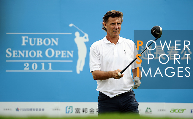 TAIPEI, TAIWAN - NOVEMBER 19:  Anders Forsbrand of Sweden tees off on the 1st hole during day two of the Fubon Senior Open at Miramar Golf & Country Club on November 19, 2011 in Taipei, Taiwan. Photo by Victor Fraile / The Power of Sport Images