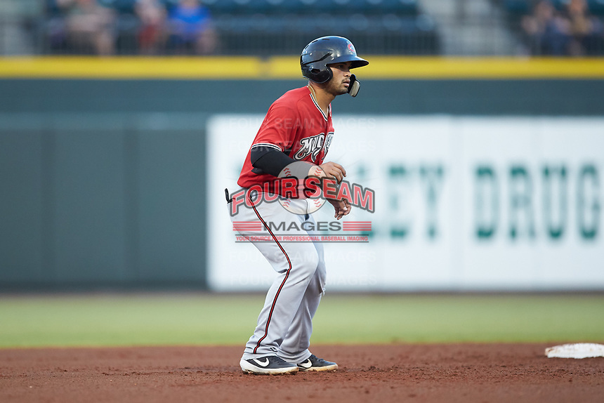 Mario Feliciano (4) of the Carolina Mudcats takes his lead off of second base against the Winston-Salem Dash at BB&T Ballpark on June 1, 2019 in Winston-Salem, North Carolina. The Dash defeated the Mudcats 5-4 in game two of a double header. (Brian Westerholt/Four Seam Images)