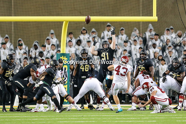 Oklahoma Sooners place kicker Austin Seibert (43) in action during the game between the Oklahoma Sooners  and the Baylor Bears at the McLane Stadium in Waco, Texas.