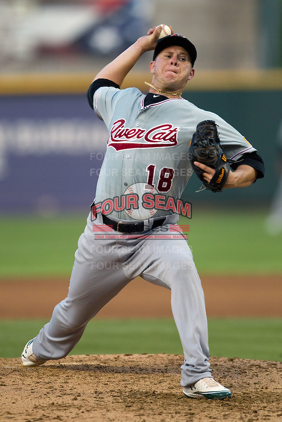 Sacramento River Cats pitcher Brad Peacock #18 delivers during the Pacific Coast League baseball game against the Round Rock Express on May 22, 2012 at The Dell Diamond in Round Rock, Texas. The Express defeated the River Cats 11-5. (Andrew Woolley/Four Seam Images)