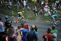 Chris Froome (GBR/SKY) descending the Grand Colombier<br /> <br /> stage 15: Bourg-en-Bresse to Culoz (160km)<br /> 103rd Tour de France 2016