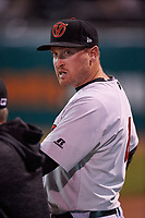 Visalia Rawhide manager Shawn Roof (4) during a California League game against the San Jose Giants on April 12, 2019 at San Jose Municipal Stadium in San Jose, California. Visalia defeated San Jose 6-2. (Zachary Lucy/Four Seam Images)