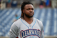 Philadelphia Phillies center fielder Roman Quinn (46), on rehab assignment with the Clearwater Threshers, during the national anthem before a Florida State League game against the Dunedin Blue Jays on April 4, 2019 at Spectrum Field in Clearwater, Florida.  Dunedin defeated Clearwater 11-1.  (Mike Janes/Four Seam Images)