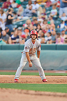 Max Schrock (56) of the Memphis Redbirds takes his lead against the Salt Lake Bees at Smith's Ballpark on July 24, 2018 in Salt Lake City, Utah. Memphis defeated Salt Lake 14-4. (Stephen Smith/Four Seam Images)