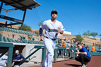 Surprise Saguaros Brandon Wagner (24), of the New York Yankees organization, jogs onto the field during player introductions before the Arizona Fall League Championship Game against the Salt River Rafters on October 26, 2019 at Salt River Fields at Talking Stick in Scottsdale, Arizona. The Rafters defeated the Saguaros 5-1. (Zachary Lucy/Four Seam Images)