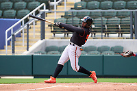 FCL Orioles Orange outfielder Isaac Bellony (53) hits a home run during a game against the FCL Braves on July 22, 2021 at the CoolToday Park in North Port, Florida.  (Mike Janes/Four Seam Images)