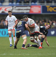 11 January 2020; Marcell Coetzee of Ulster is tackled by Alexandre Fischer during the Heineken Champions Cup Pool 3 Round 5 match between ASM Clermont Auvergne and Ulster at Stade Marcel-Michelin in Clermont-Ferrand, France. Photo by John Dickson/DICKSONDIGITAL