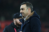 Swansea City manager Carlos Carvalhal looks dejected after the final whistle of the Premier League match between Swansea City and Tottenham Hotspur at the Liberty Stadium, Swansea, Wales, UK. Tuesday 02 January 2018
