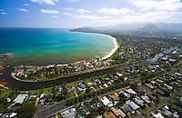 Aerial of Kailua bay, Oahu